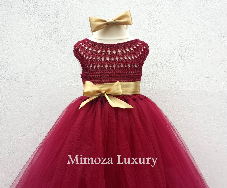 Burgundy Flower girl dress Christmas tutu dress bordo tutu dress bridesmaid dress princess dress crochet top tulle dress crimson dress