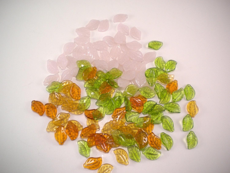 Destash - assorted leaf beads - fall colors - UnnamedRoad