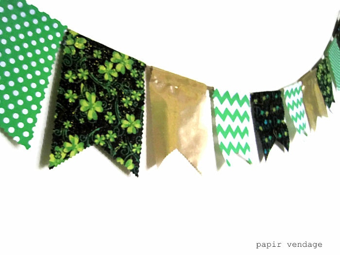 St. Patricks Bunting Banner, St.Patricks Shamrock Bunting, Garland, Green Bunting, March Bunting Banner, St. Patrick's Photography Prop - papirvendage