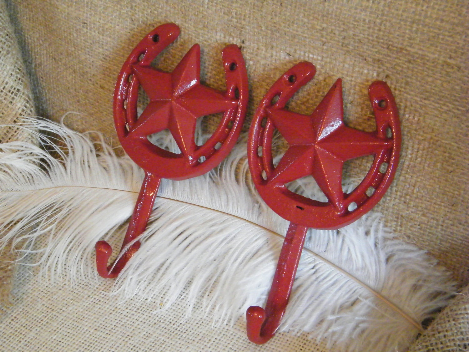 Western Decor Wall Hooks : Wall hooks red horseshoe and lone star set of by