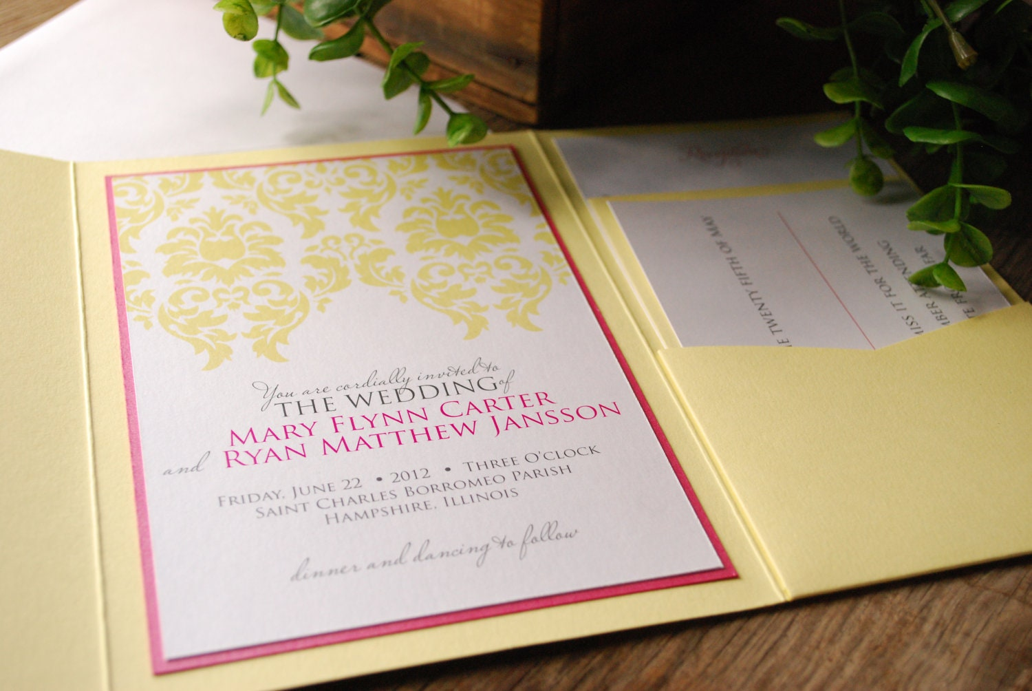 Wedding Invitation - Yellow and Pink Damask with Yellow Pocket and Inserts - birdhousestationery