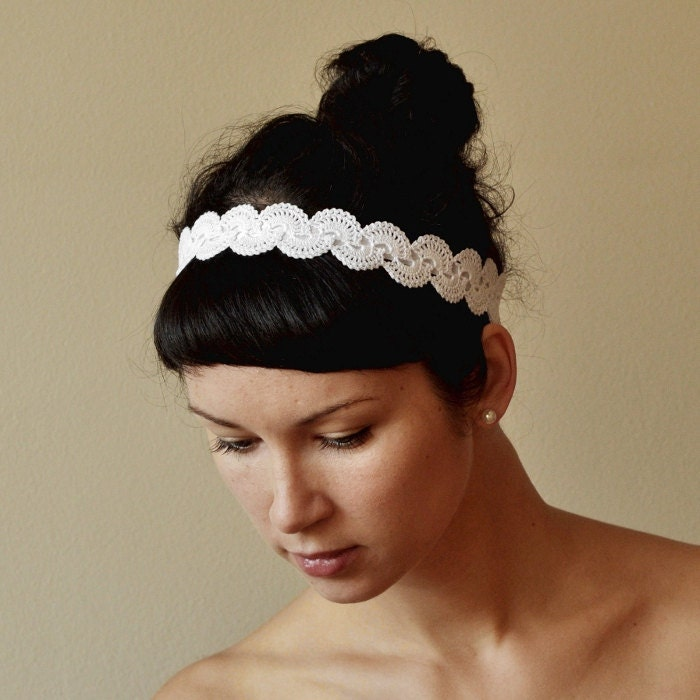 Crochet Hair For Wedding : Items similar to BRIDAL HAIR BAND wedding hair accessory crochet lace ...