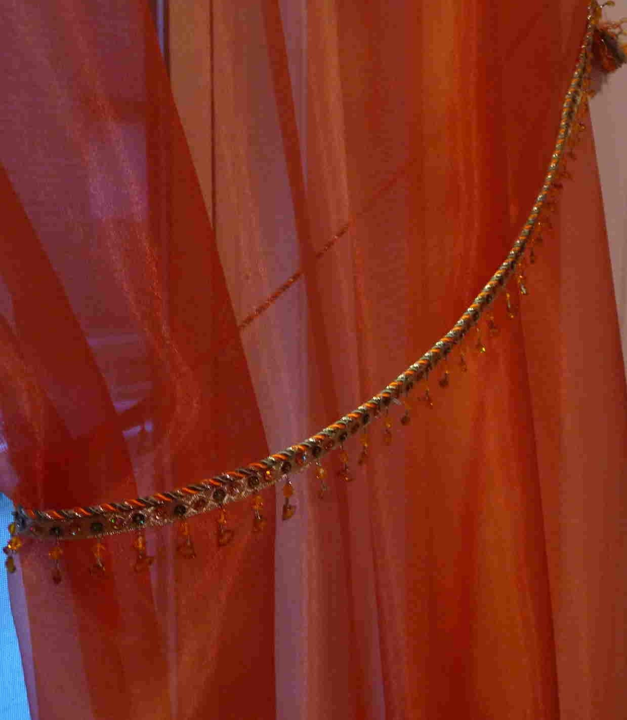 curtains - orange shimmery , long sheer - with ornate beaded tie back ...