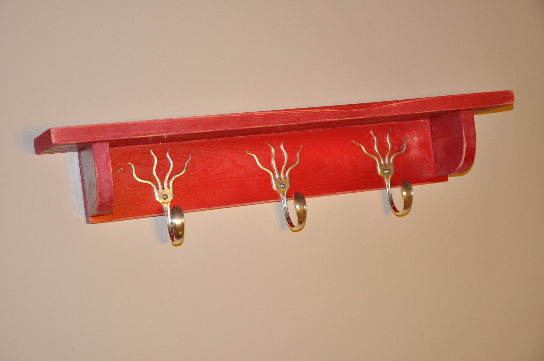 funky forks coat rack with shelf in distressed red by