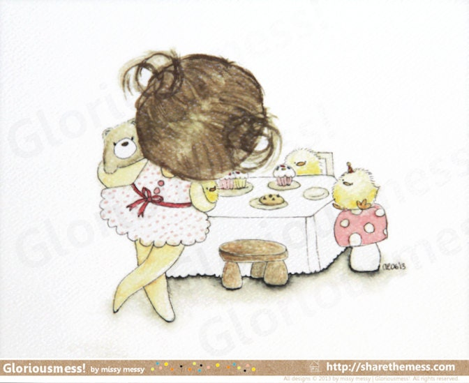 "Whimsical Cake A5 Art Print - ""Time For Tea"" Says Little Girl CurlieQ - Cute Children's Illustration - Gloriousmess"
