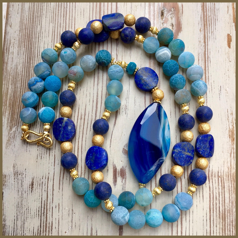 Lapis And Vermeil Gold Necklace
