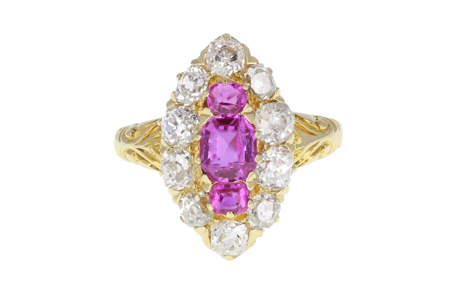 Antique Ruby and Diamond Boat Shaped Cluster Ring in 18ct Gold