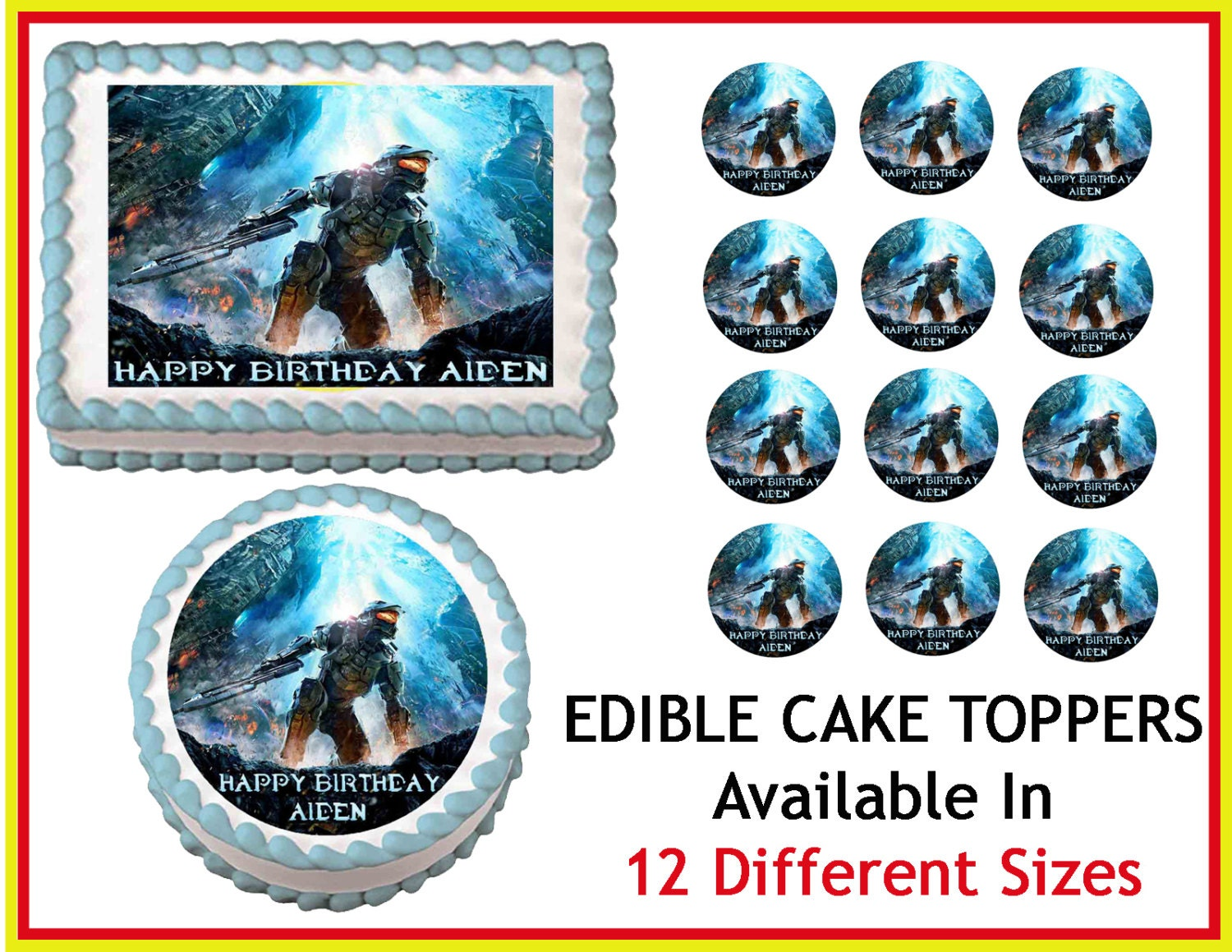 Edible Cake Images Halo : HALO 4 Edible Cake Image Cupcake Topper by ...