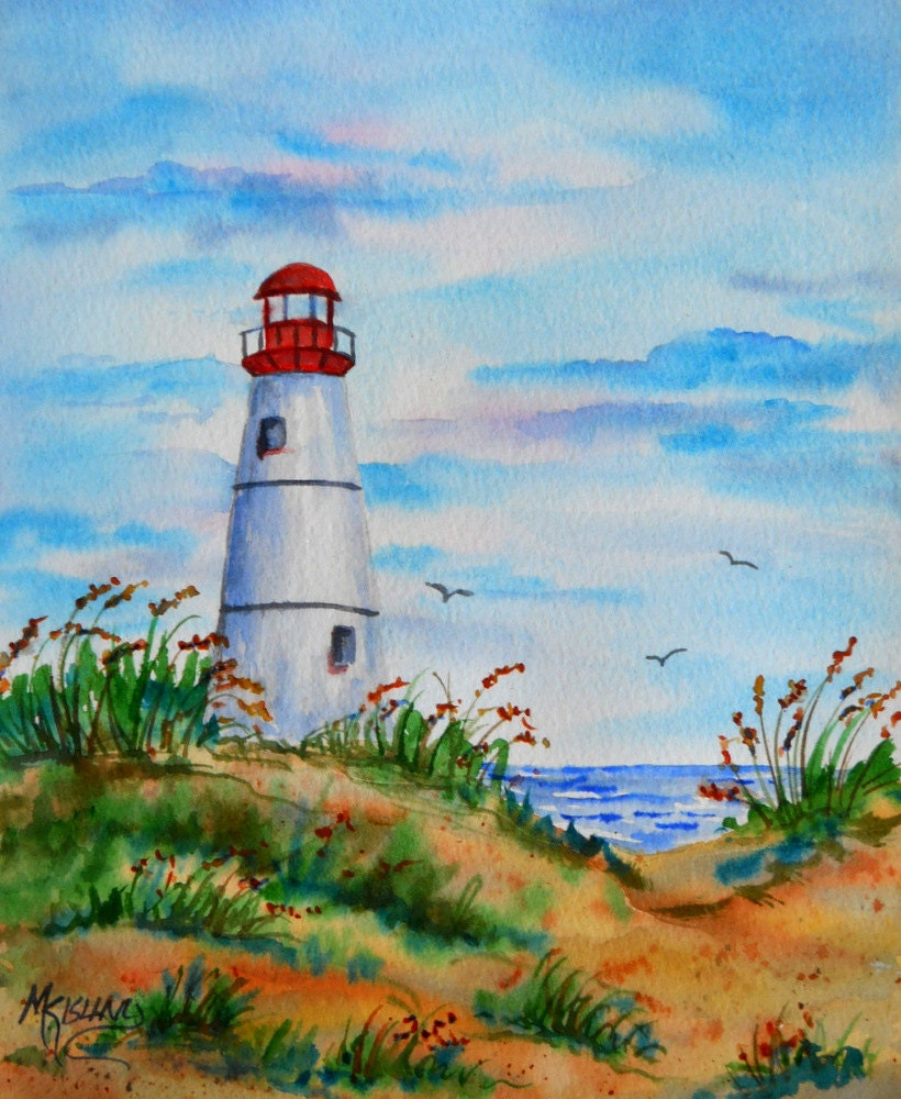 Items Similar To White Lighthouse Watercolor Beach Coast