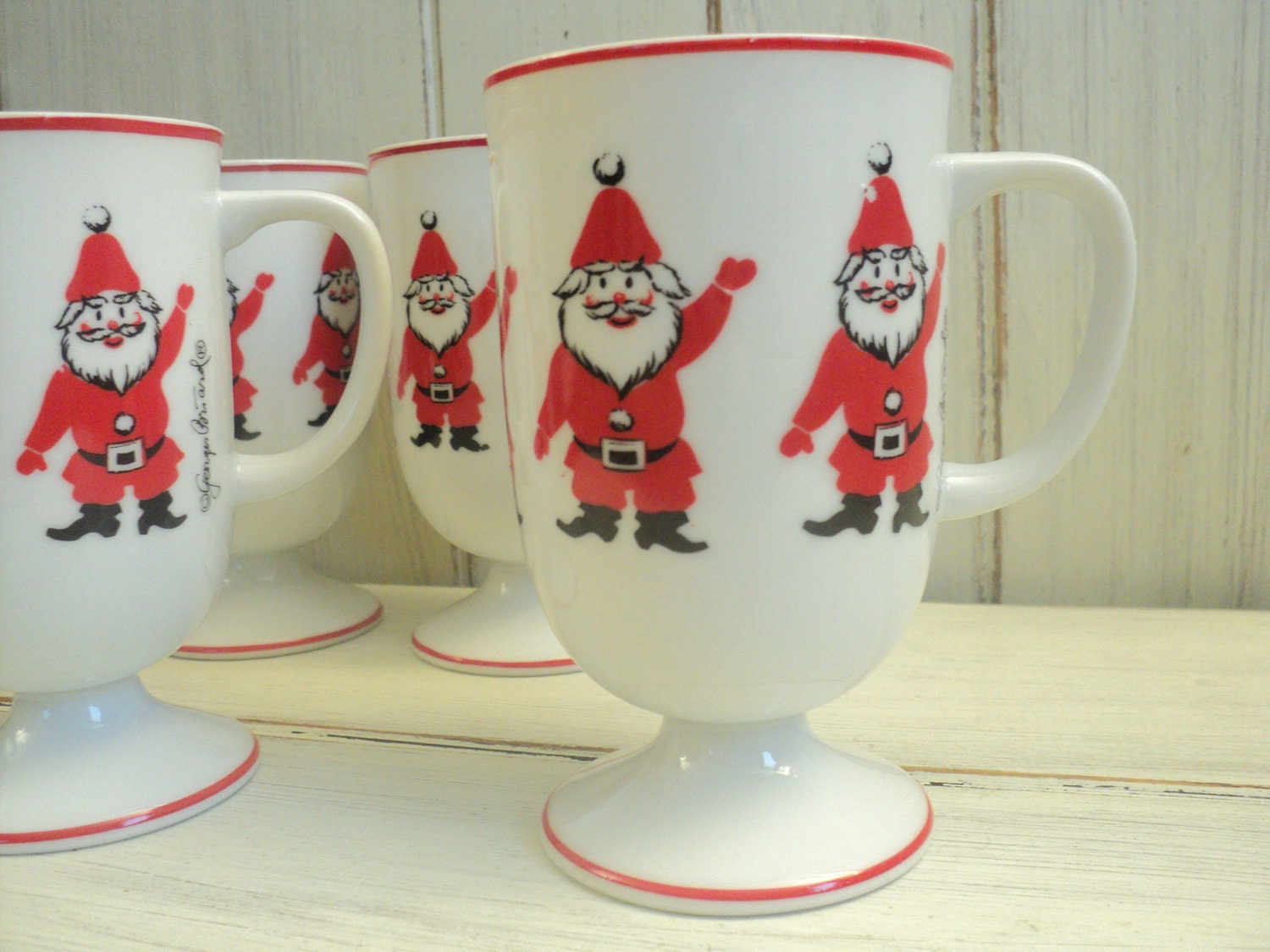 vintage holiday christmas SANTA pedestal mugs Georges Briard
