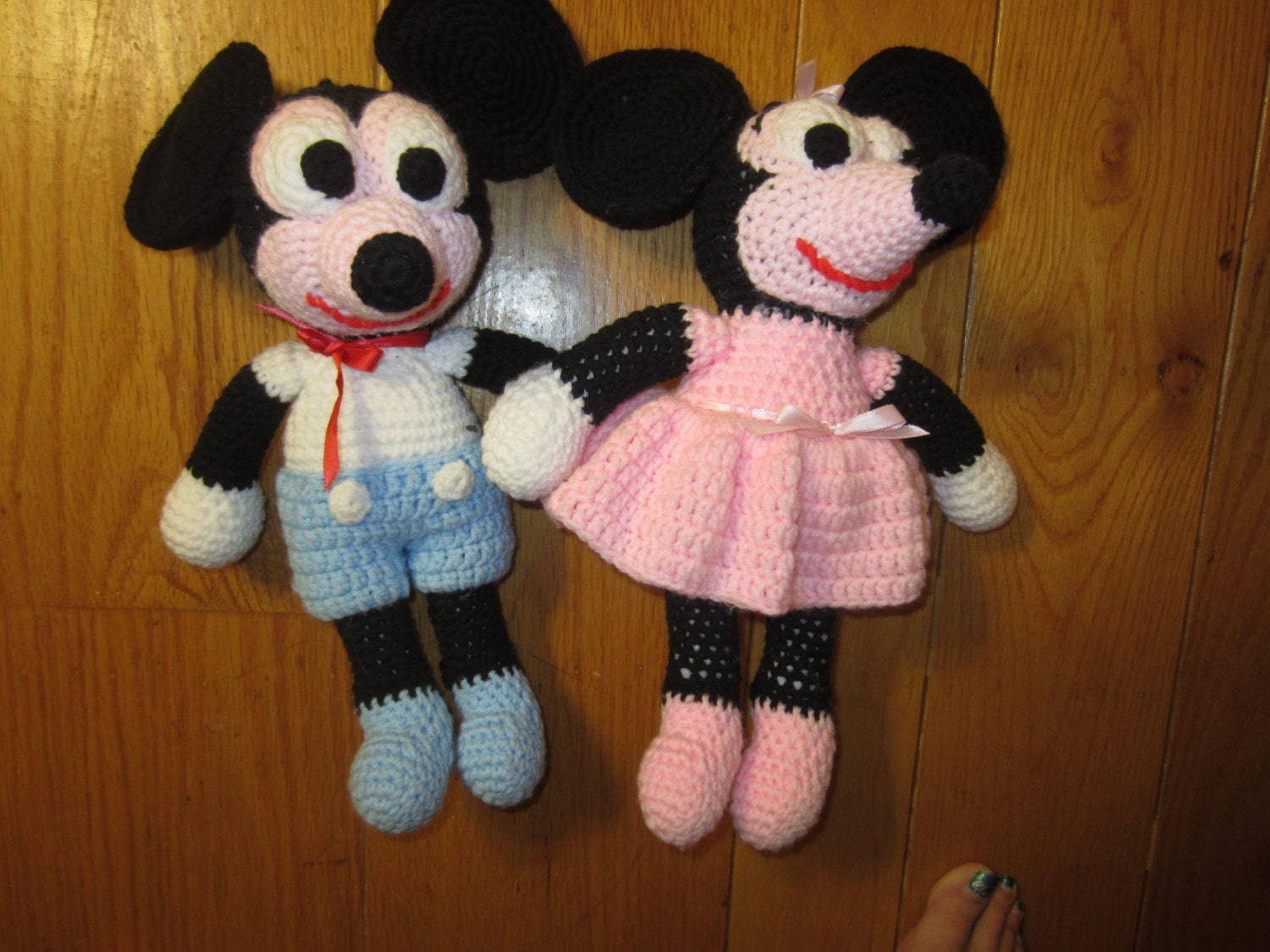 Knitting Patterns For Disney Toys : Vintage Mickey Mouse & Minnie Mouse Hand Crochet by kookykitsch
