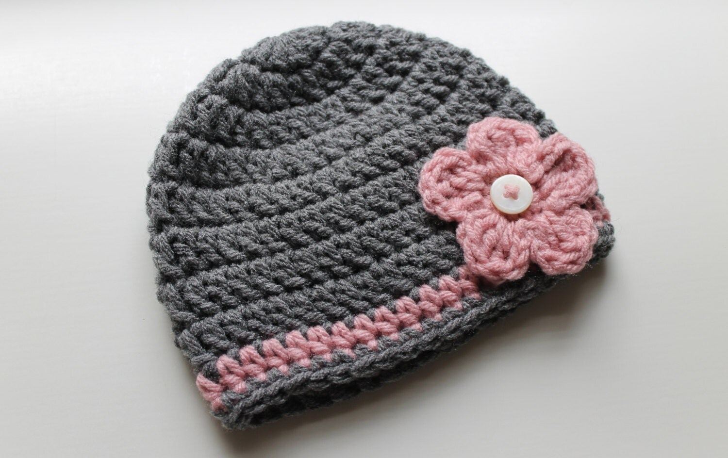 Infant Hat: Gray Hat with Pink Flower - ZawiHats