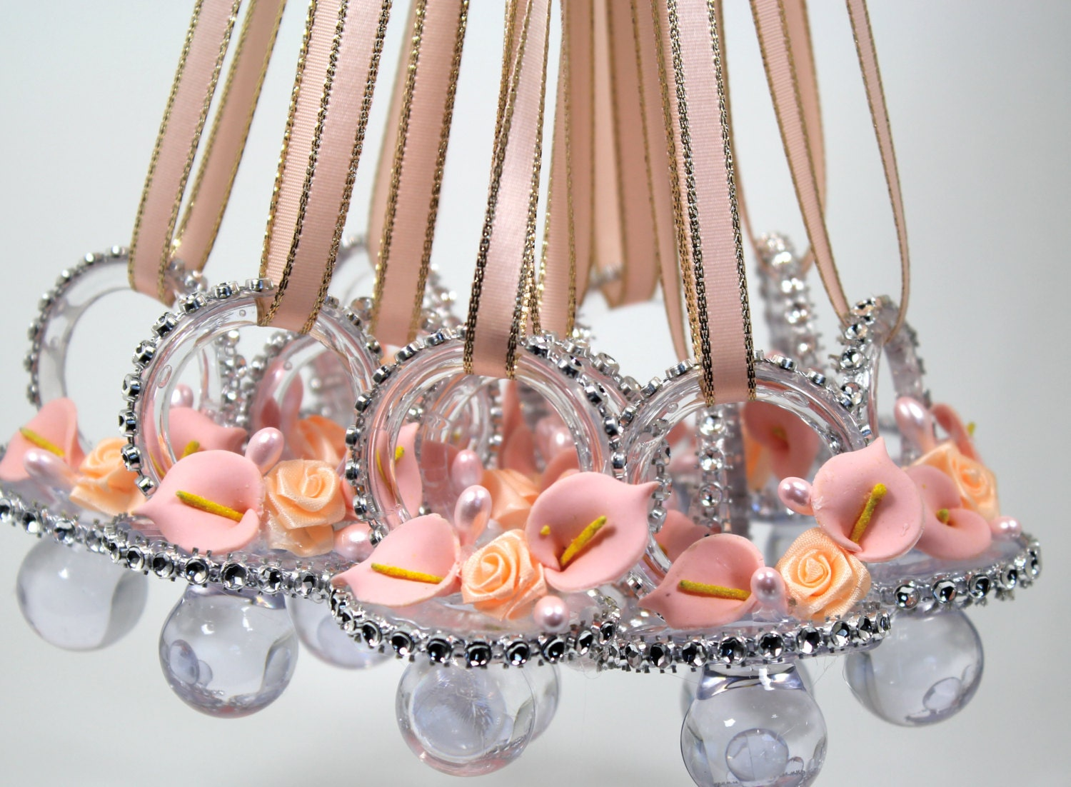Peach baby shower pacifier necklace 12 pieces by for Baby party decoration
