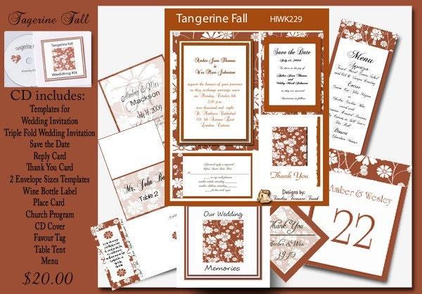 Delux Tagerine Fall Wedding Invitation Kit on CD