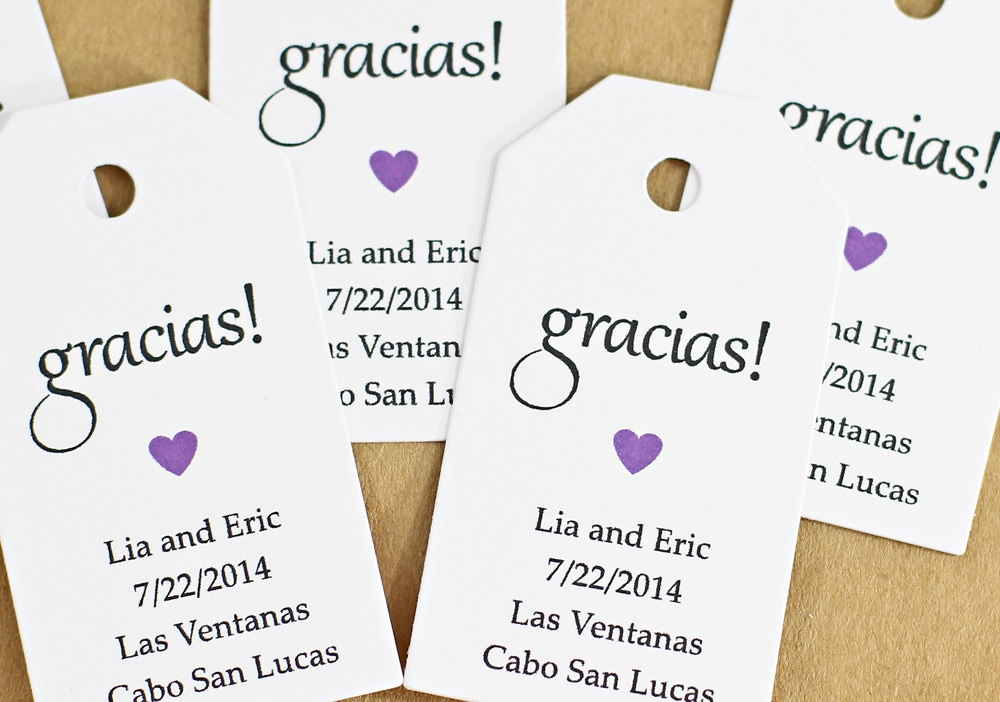 Thank You For Wedding Gift In Spanish : Gift Tag - Gracias Thank You in Spanish, Bridal Shower Favor Tag ...