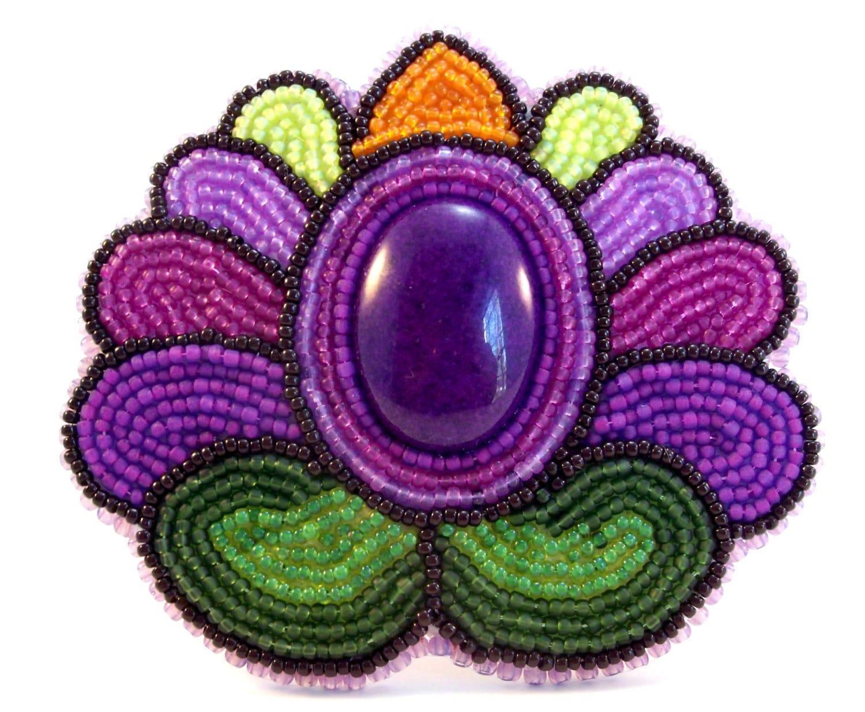 Hungarian folk art purple tulip bead embroidery by beadn fun