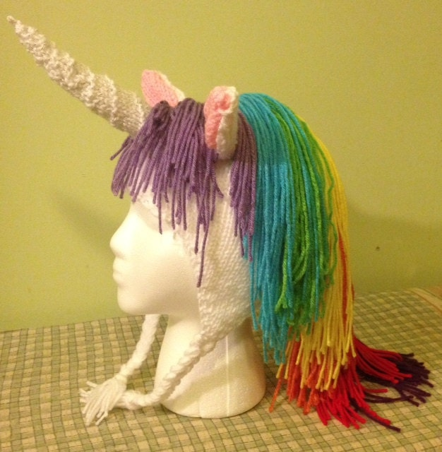 Rainbow Unicorn Knitting Pattern : Beautiful rainbow unicorn hat pattern by smileyheadsplendor