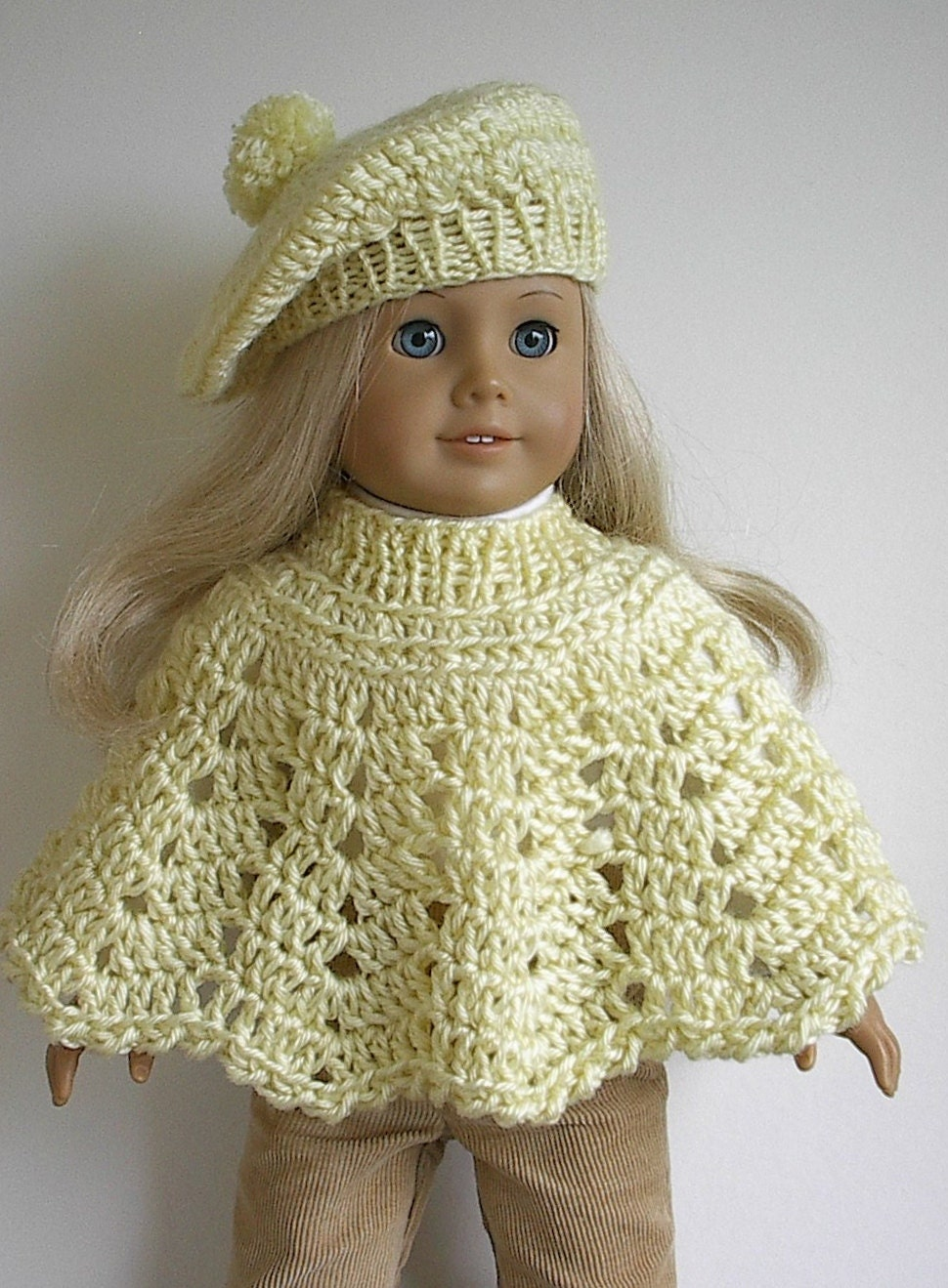 Crochet Amigurumi Pattern Hello Kitty Strawberry Hoolaloop : American Girl Doll Clothes: Crocheted Poncho and by ...