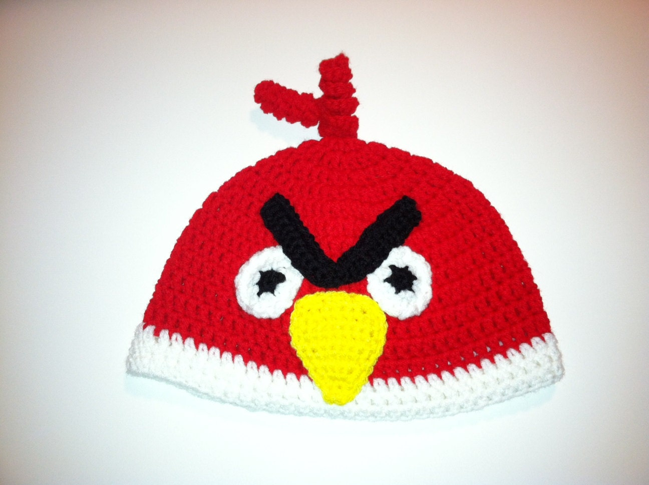 Crochet Hat Pattern Angry Bird : Crochet Red Angry Bird Hat Pattern-All sizes by Yoopercrafts