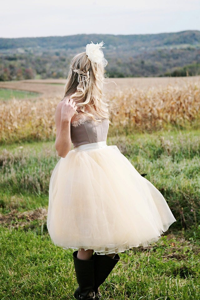 Beige tulle  tutu skirt with ivory satin waist for  women.