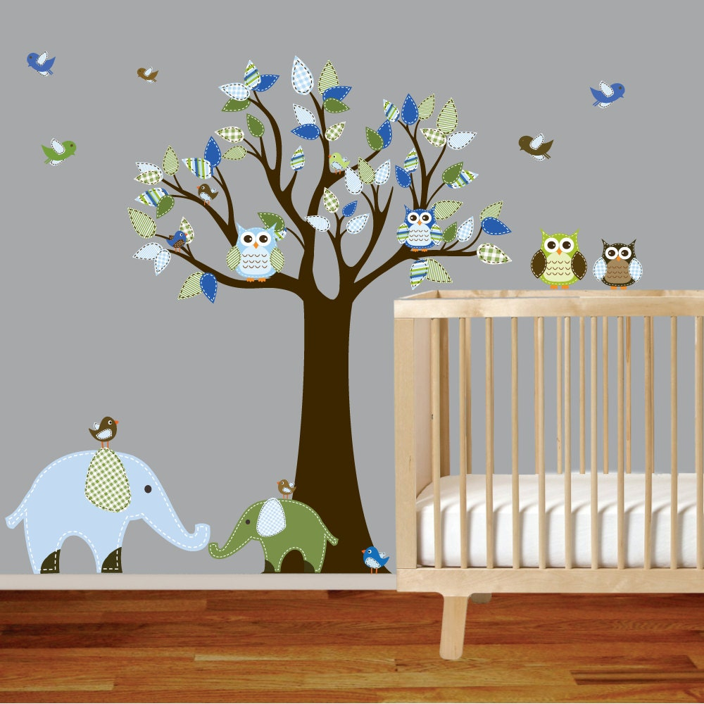 Whimsical nursery jungle vinyl wall decal art set by for Elephant mural nursery