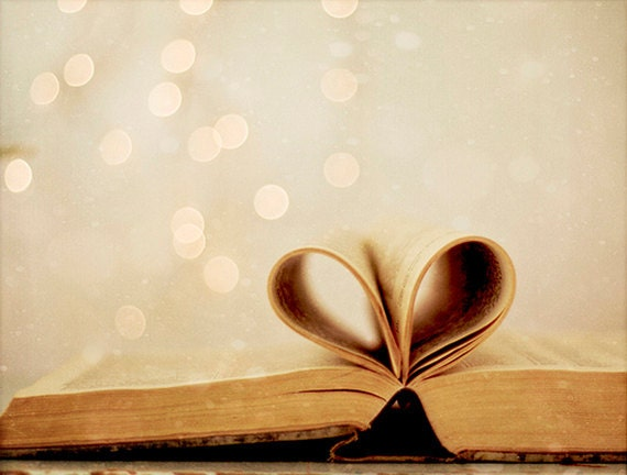 Book Photo, Romantic Art, Heart Book Photo, Bokeh Photography, Vintage Inspired Photography, 5x7 Heart Photo - Kristybee