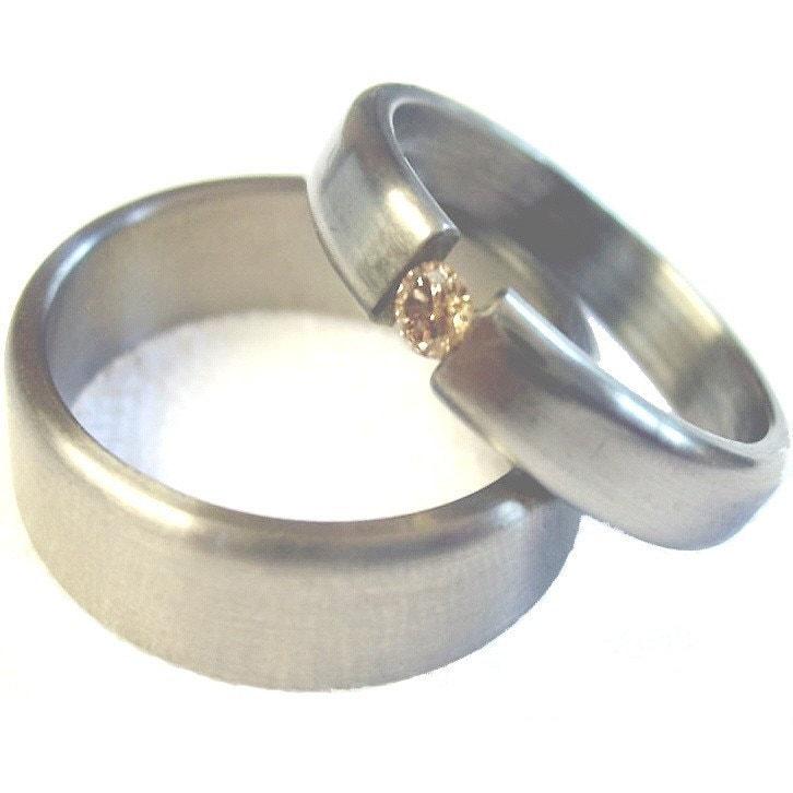 Items Similar To Titanium And Diamond Wedding Bands Tension Set On Etsy
