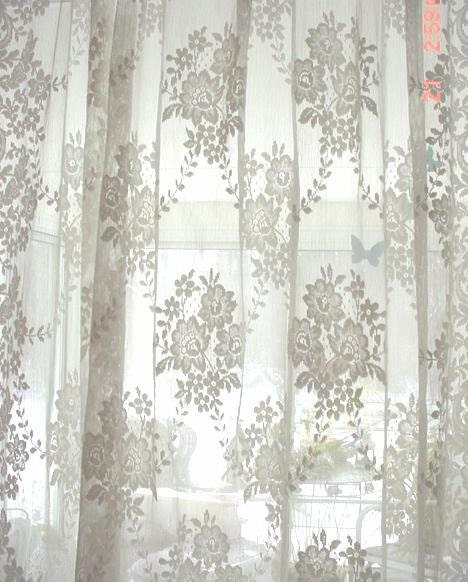vintage french lace curtain panel cottage by estatesaletreasure