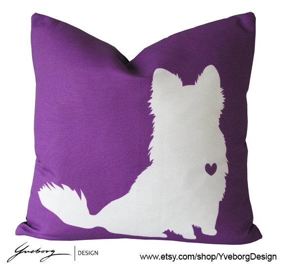 Chihuahua Pillow Long Hair Chihuahua Pillow by YveborgDesign