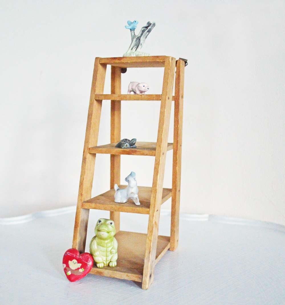 Wooden Ladder Shelf ~ Vintage wood ladder wall shelf mini display step by mothrasue