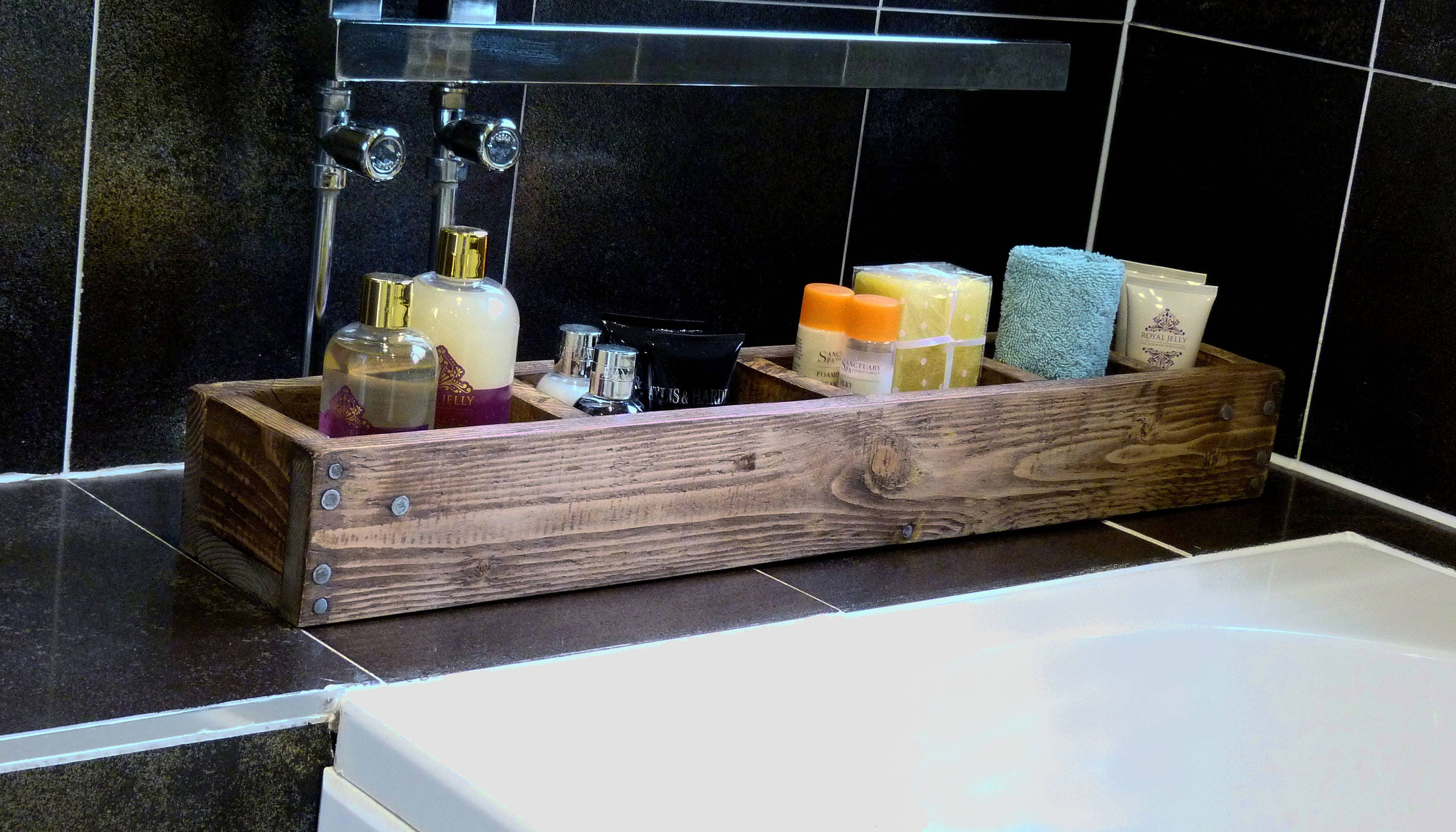 Bath caddy  organiser  dining room  kitchen organiser  table setting  reclaimed wood  rustic