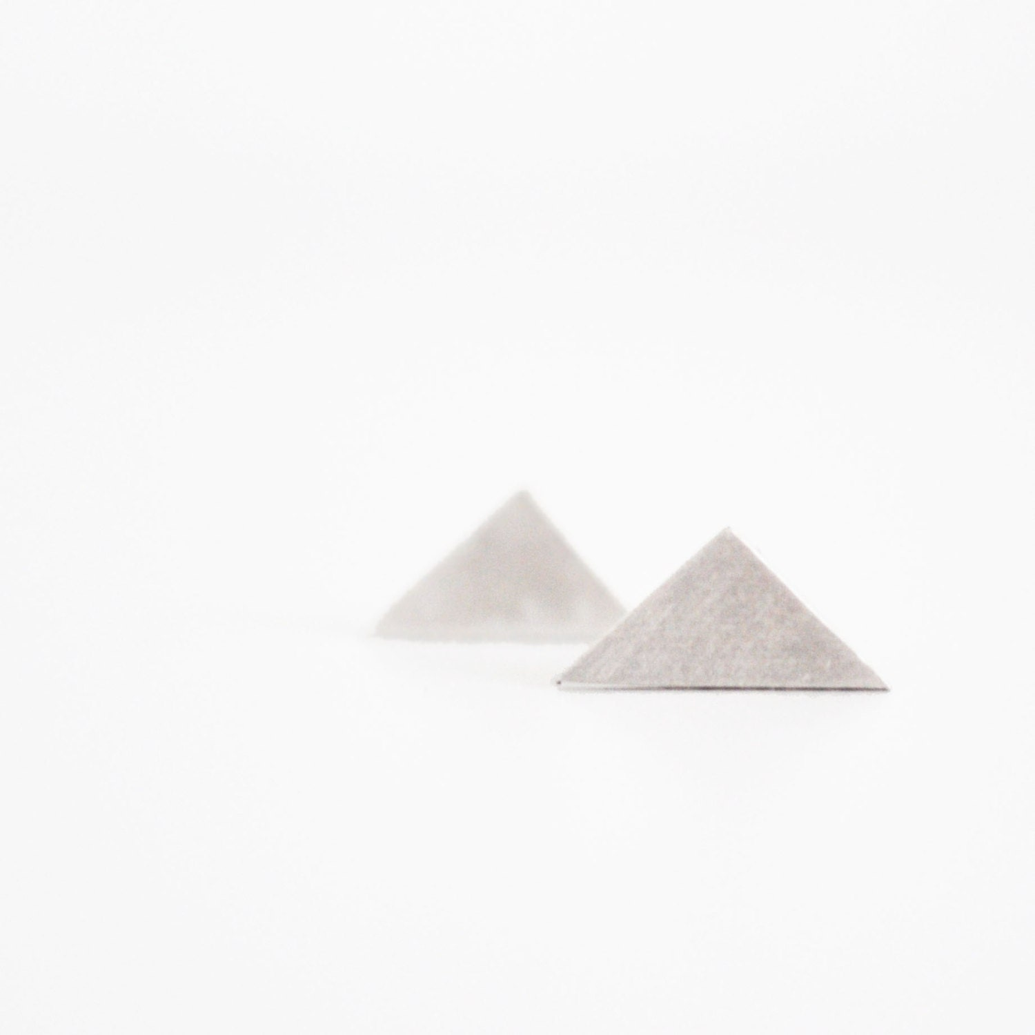 simple triangle earrings- sterling silver - free shipping - nihanatakan