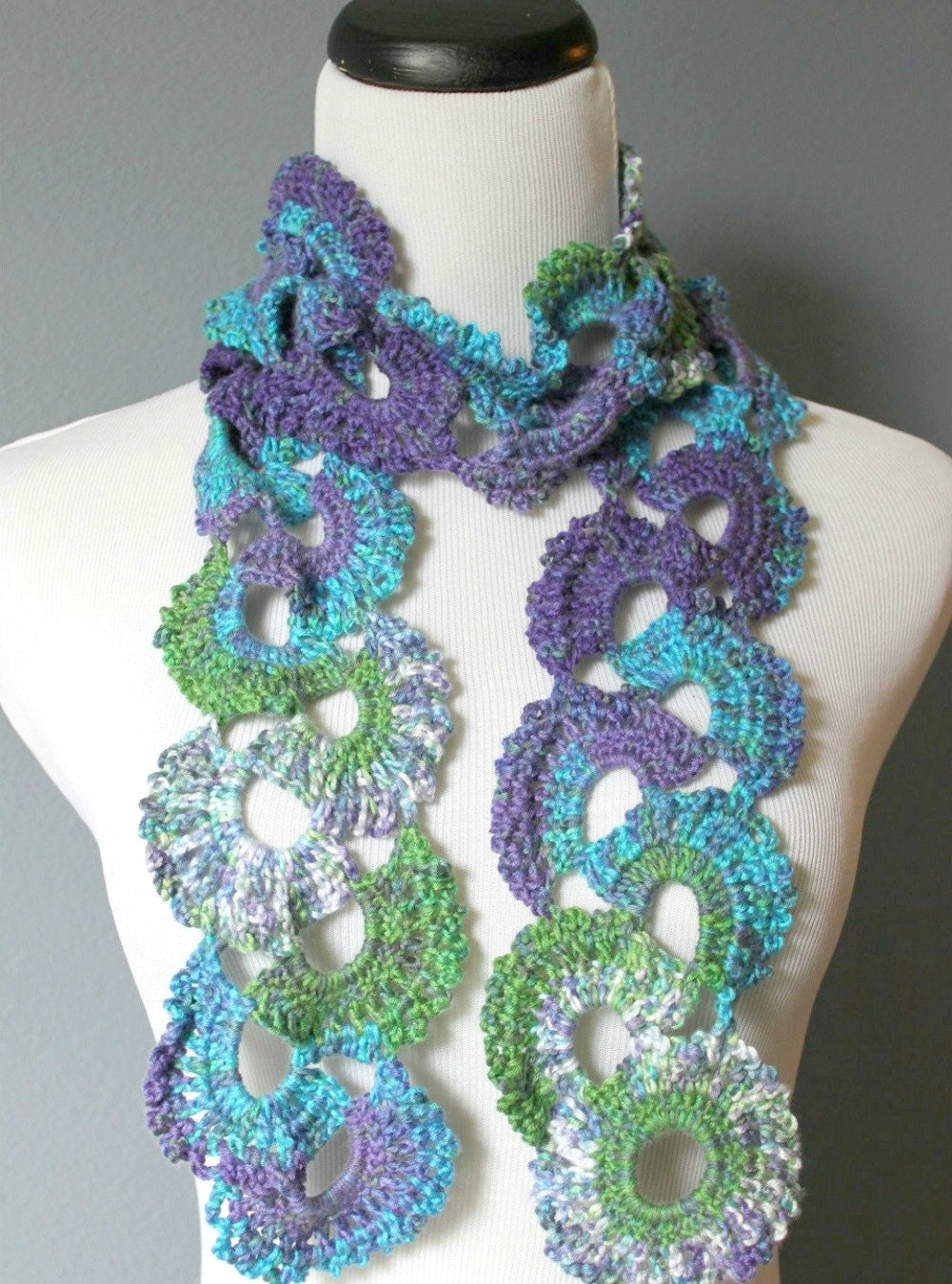 Womens Crochet Scarf Queen Annes Lace Crochet Scarf Ombre Multicolor ...