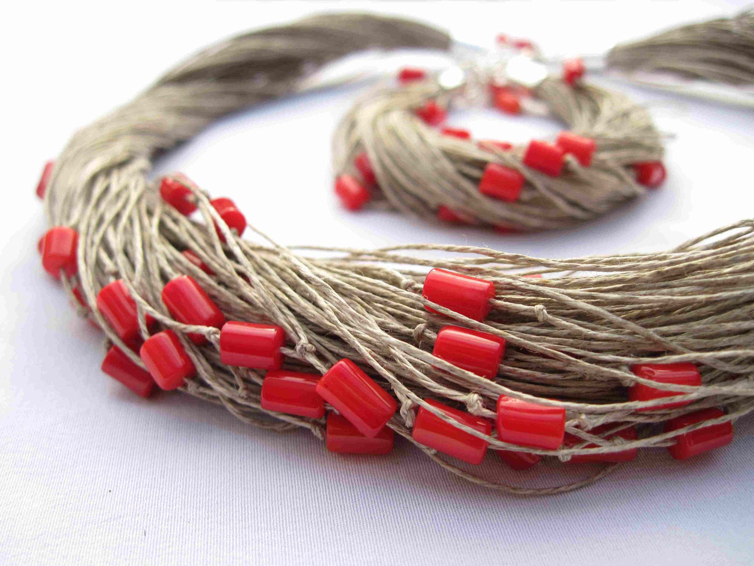 Red Coral Linen Necklace Bracelet Linen Jewelry Multi Strand Natural Fiber Summer Fashion - DreamsFactory