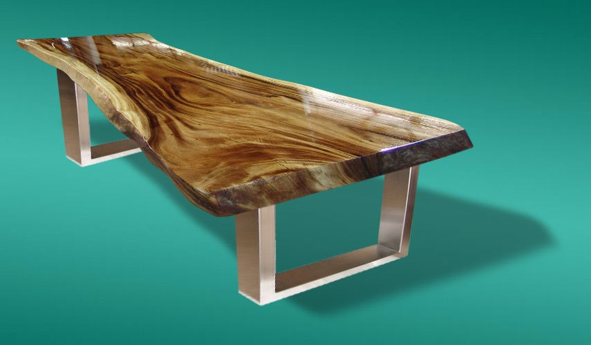 Live edge dining table acacia wood live edge reclaimed by for 10 seater solid oak dining table