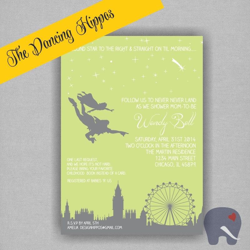 never land peter pan baby shower invitation digital file printed