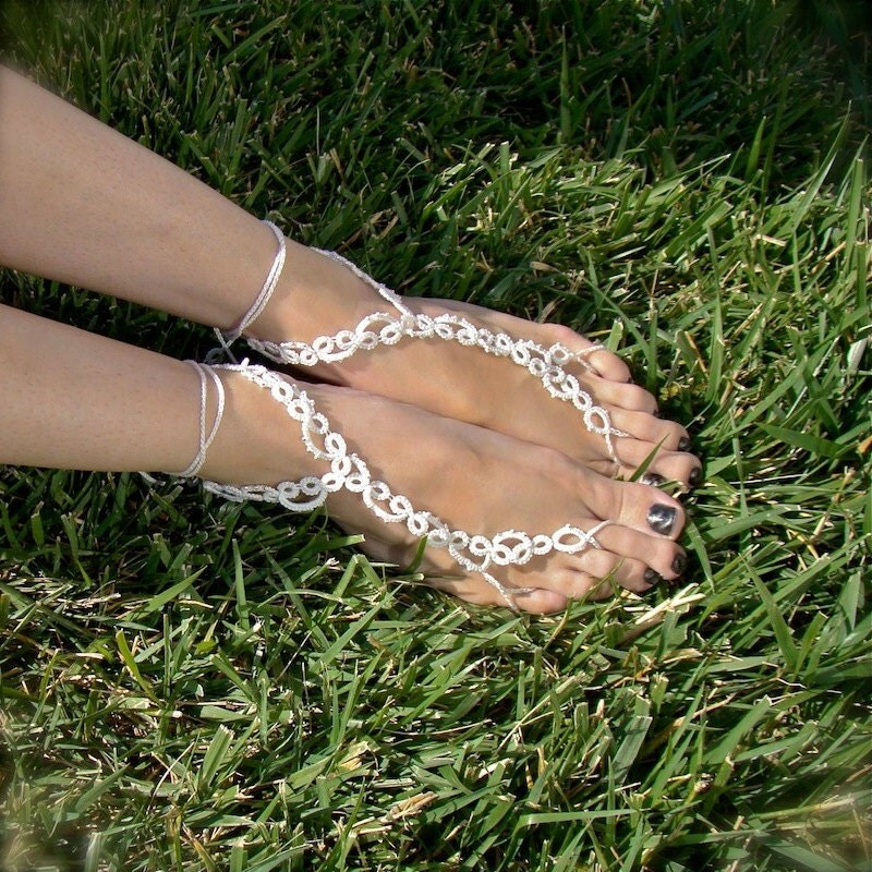 The Vine Tatted Lace Barefoot Sandals White with by TotusMel