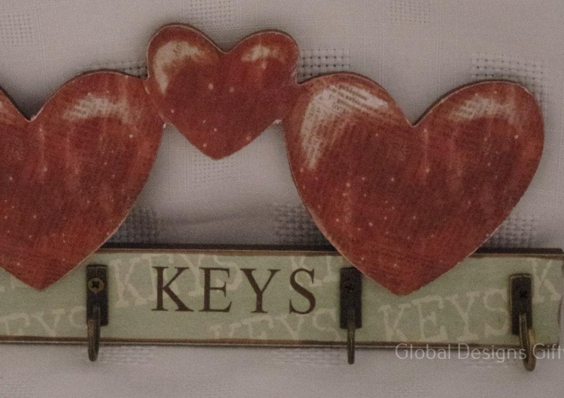 Shabby Chic key Keys Hooks Key Rack Hearts Design Green  Brown SG1954