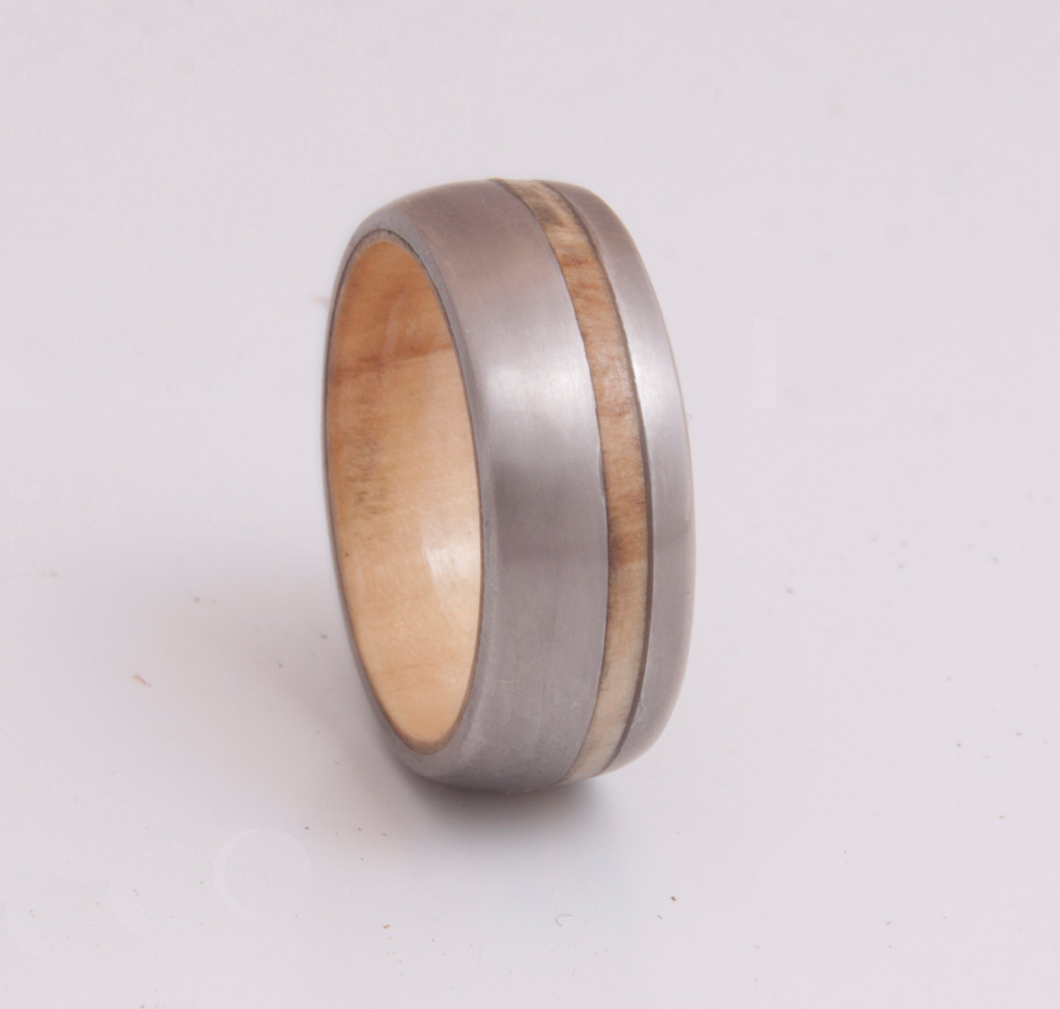 wooden ring wedding band titanium wood ring by