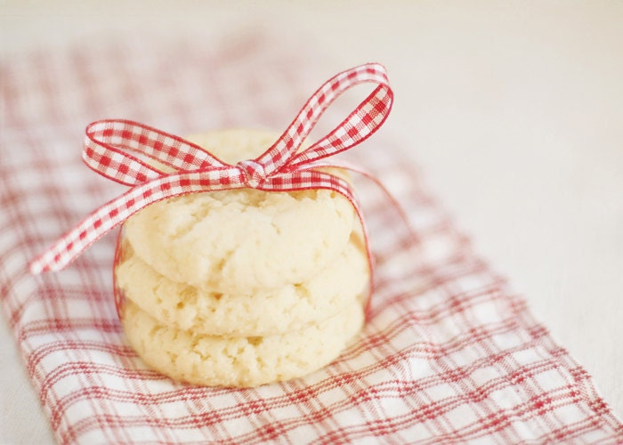 Food photography - sweet dreams kitchen art - holiday cookies food red white ribbon checkered white - photographybykarina