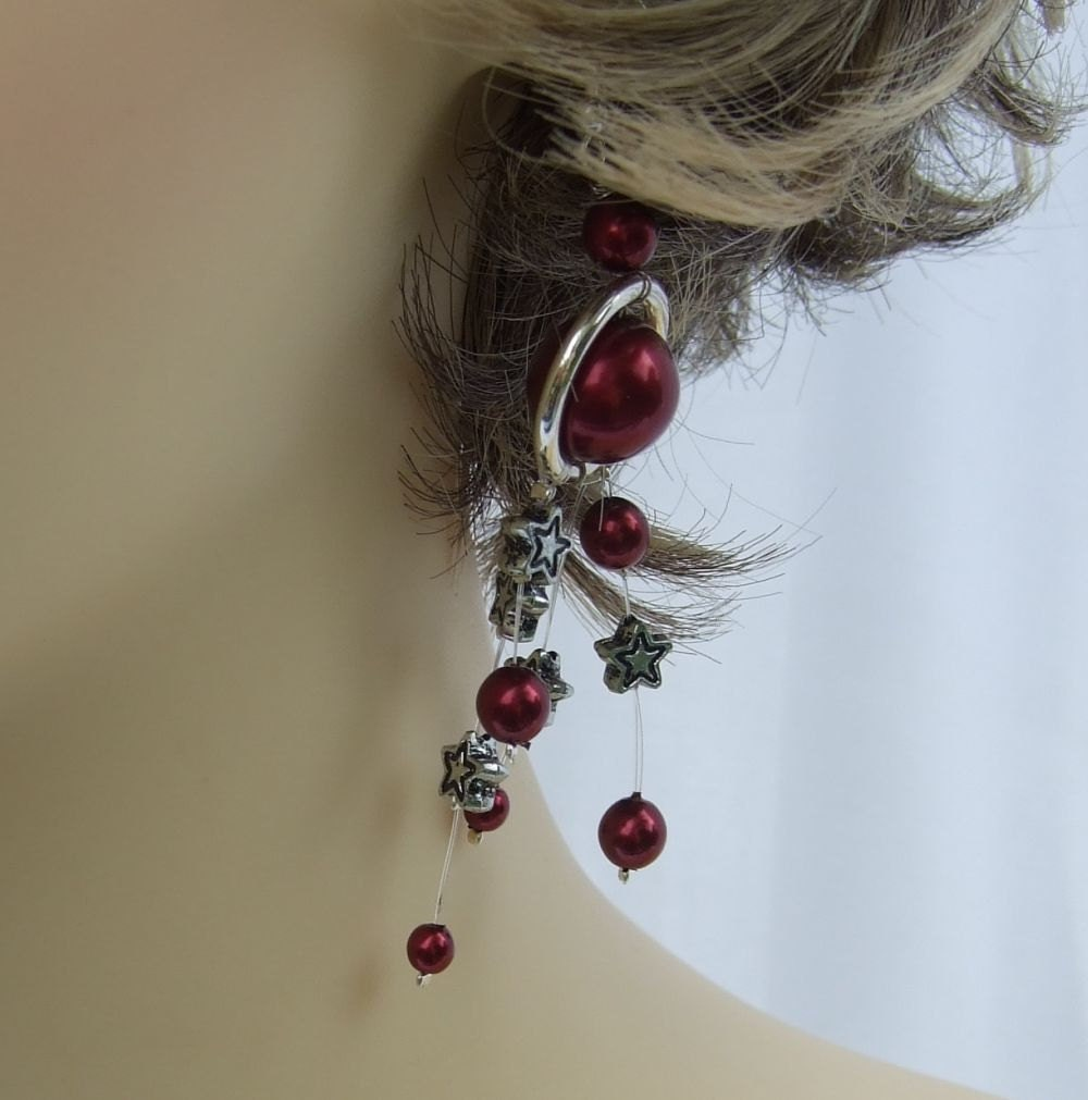 Dark Red Glass pearl Earrings Silver Plate rings with star and pearl dangles