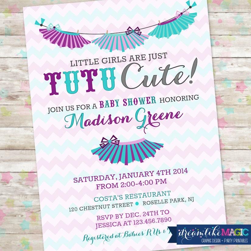 Baby Girl Shower Invitation Chevron Tutu Cute by ...