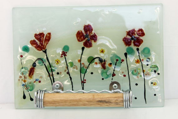 Toilet paper holder bathroom decor red poppy by virtulyglass for Red glass bathroom accessories