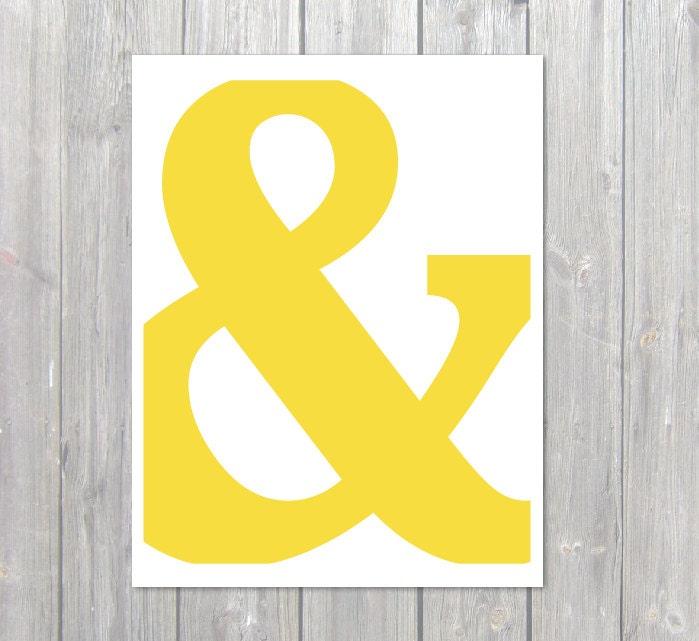 Ampersand Symbol Typography Digital Print Yellow By Aldariart