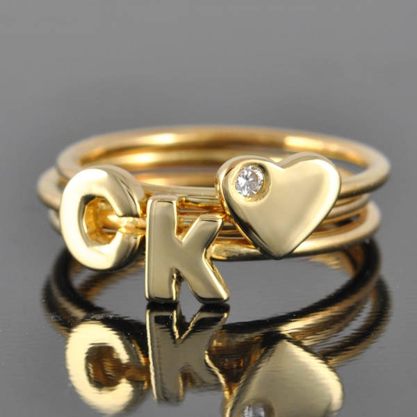 B Letter In Gold Ring Initial Ring in Gold a...