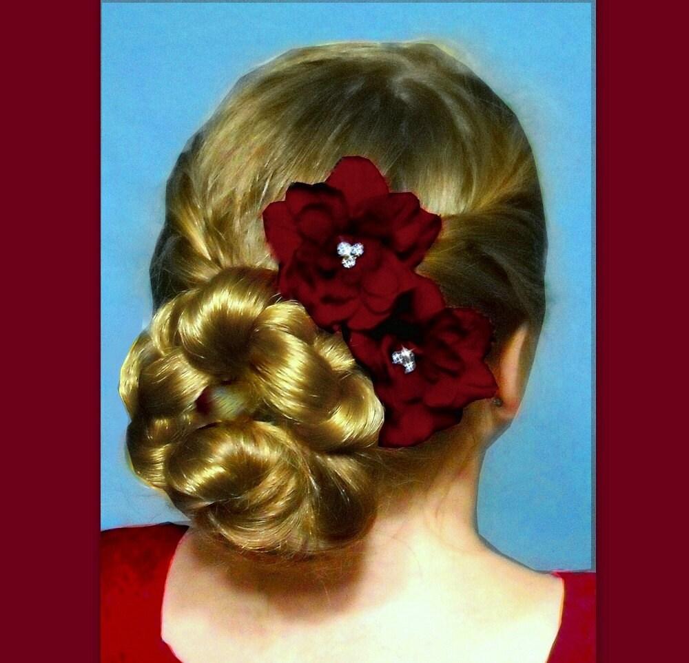 Bridesmaid Red Burgundy Wedding Hair Flower Pieces By Puppycatmeow