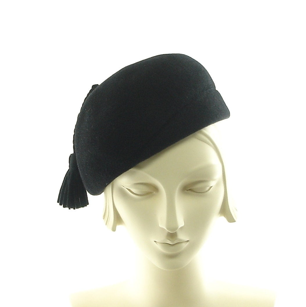 black beret vintage style womens hat by themillineryshop