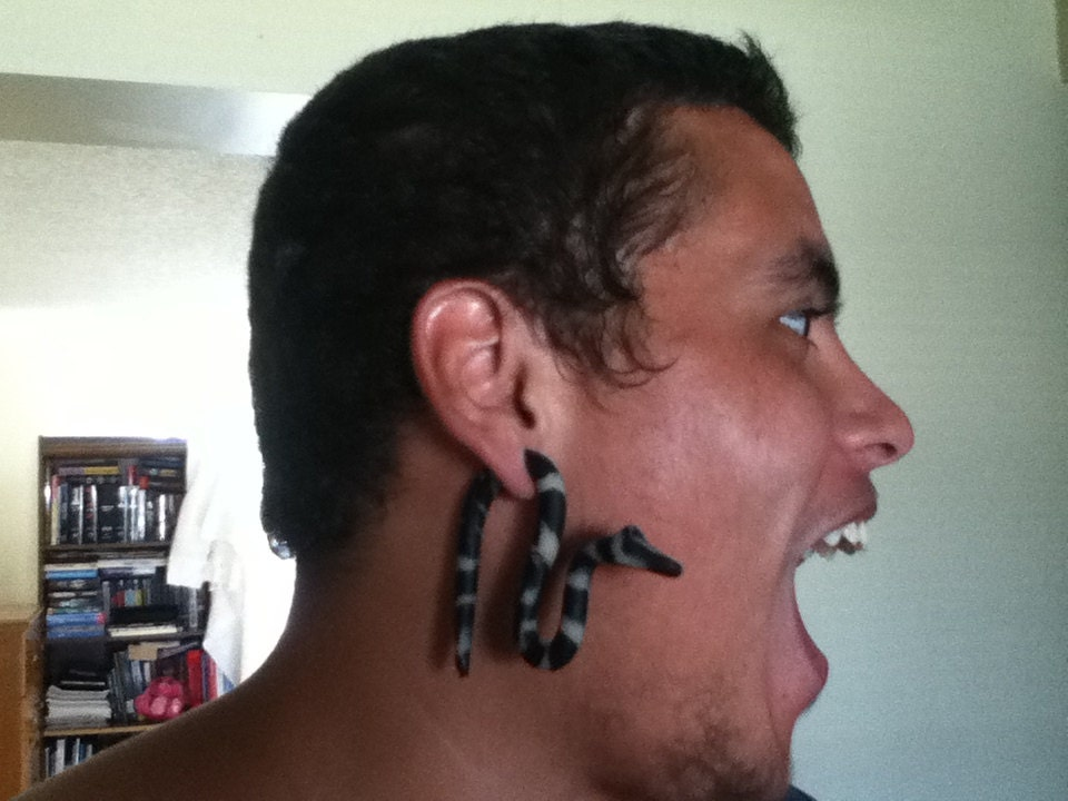 Items similar to Scary Black Tribal Snake Gauges for ...
