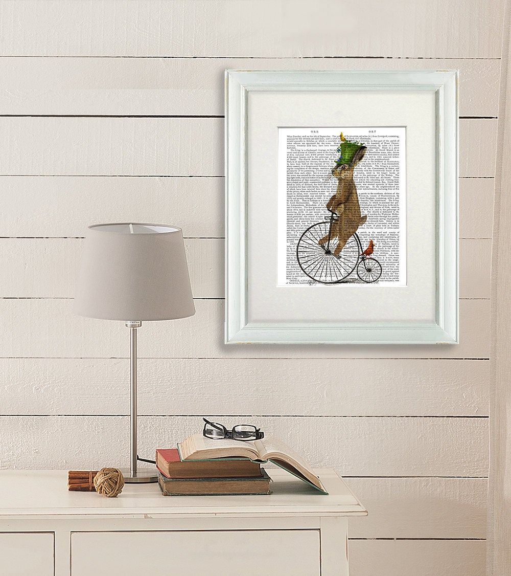 Alice in wonderland nursery decor Alice art alice birthday gift  Mad March Hare on Penny Farthing  alice art rabbit in alice in wonderland