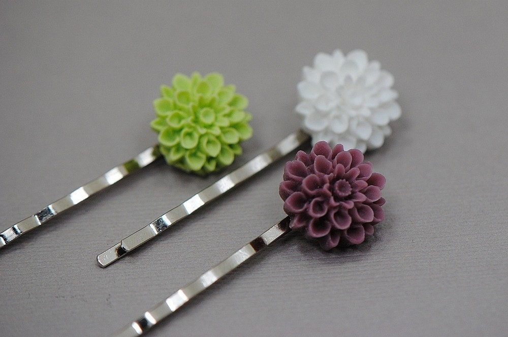 Chartreuse lime Green, White, Purple Mum Bobby Pin Hair Set